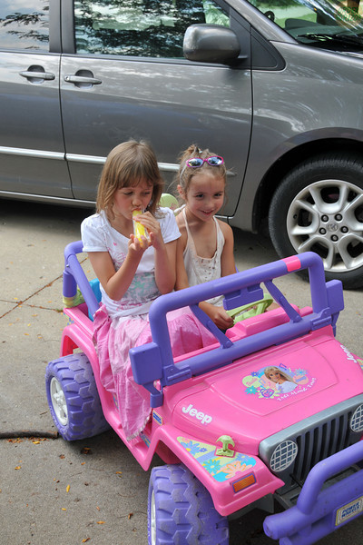 grace and ella styling in the barbie car